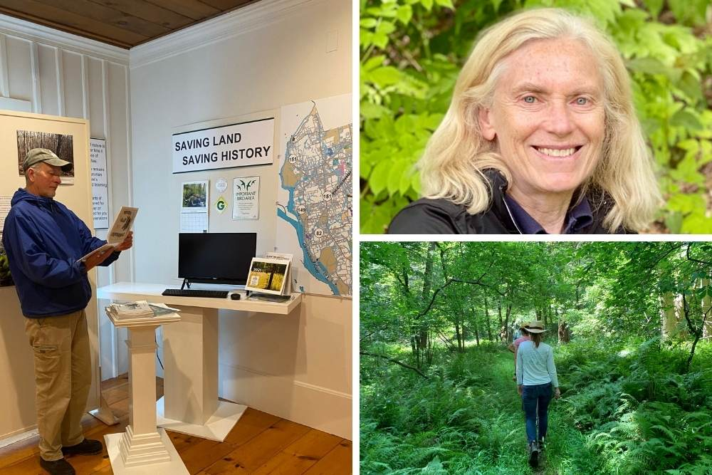 Trio of photos. (From L to R): man looking through brochure at a museum exhibit with a map; Woman smiling in front of a background of green leaves; People walking away on a trail in the woods