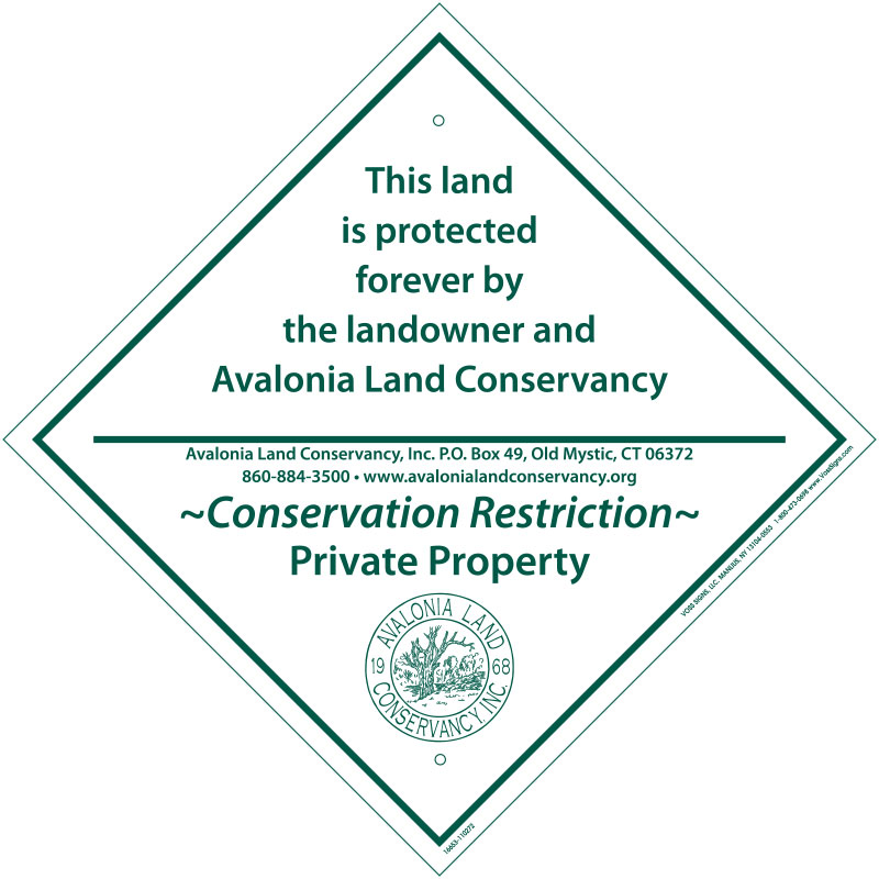 a text based sign to identify the property lines