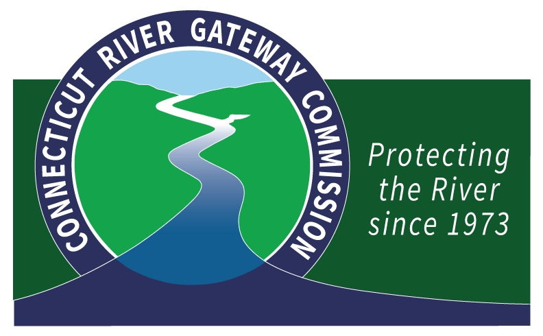 """Circle with name of company and river running in the middle. Text next to it that says, """"Protecting the River since 1973"""" on a dark green background."""