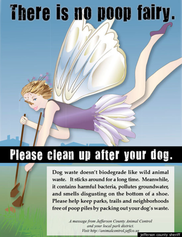 ann illustration of a fairy picking up poop