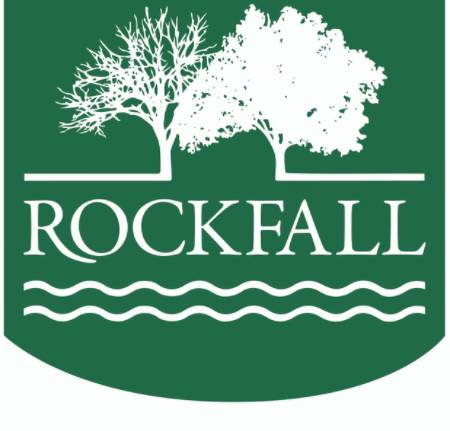 Green logo with white outline of trees and Rockfall written in white